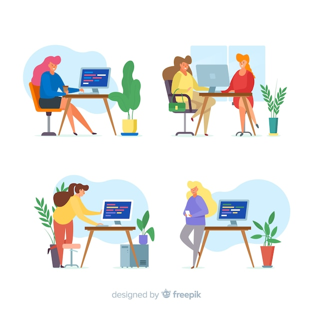 Pack of illustrated programmers working Free Vector