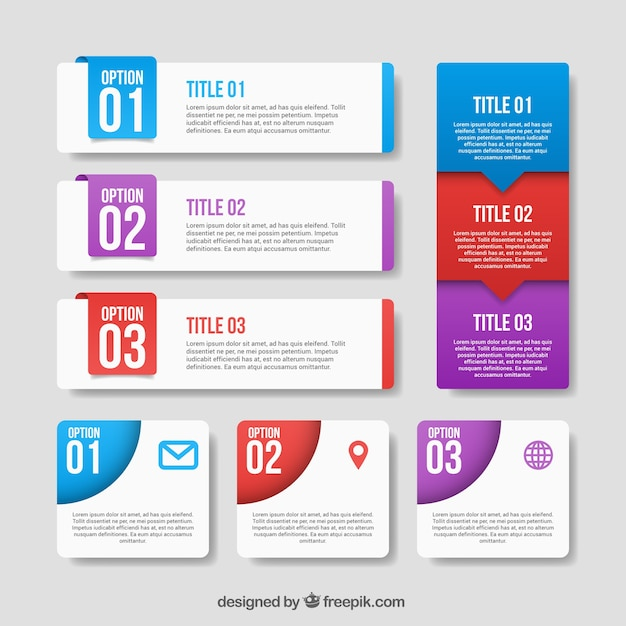 Pack of infographic banners Free Vector