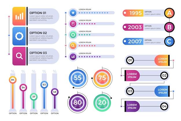 Confezione di elementi infografici Vettore gratuito