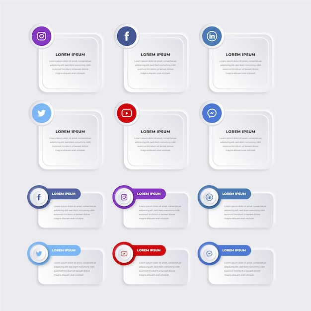 Pack of infographic elements Free Vector