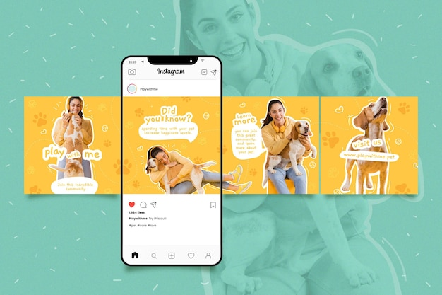 Pack of instagram carousel templates Free Vector