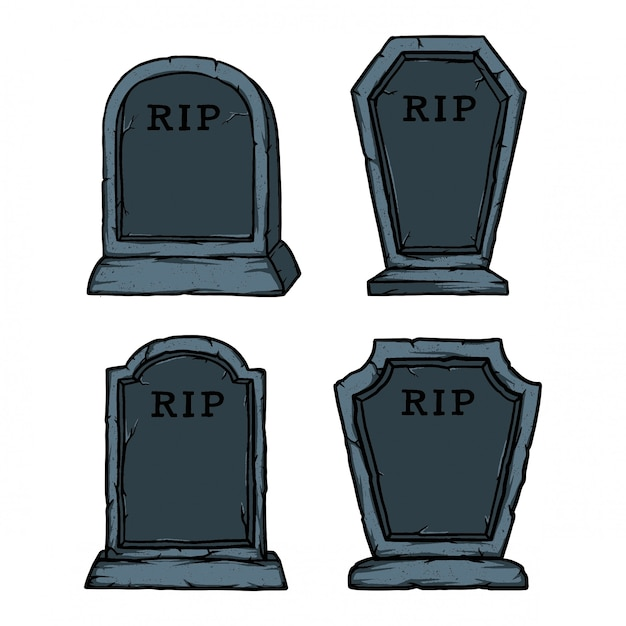 Pack of kind stone graves for halloween accessorizes. easy to add text name and dead date Premium Vector