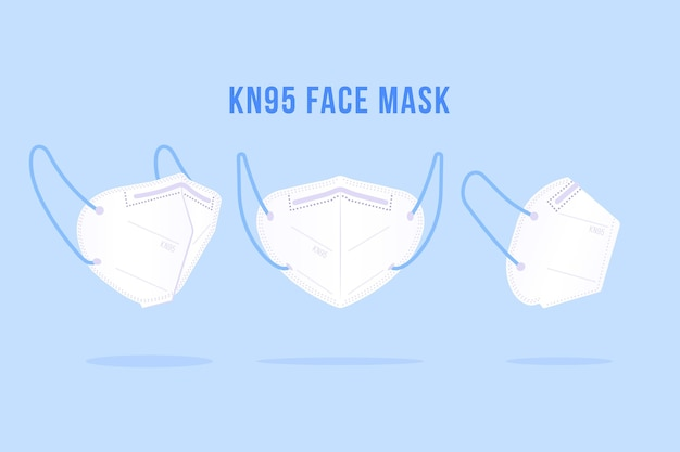 Pack of kn95 face mask in different perspectives Premium Vector