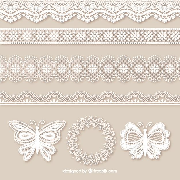 Pack of lace borders and butterflies Free Vector