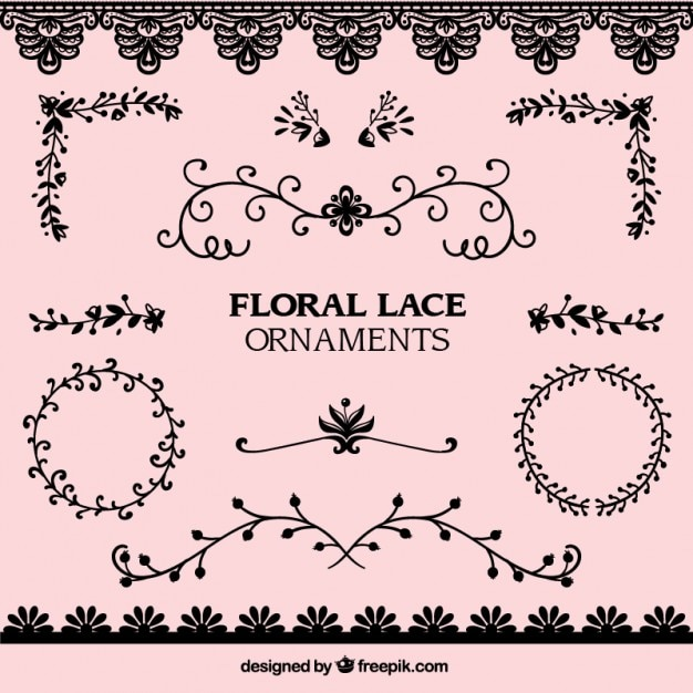 Pack of lace floral ornaments Premium Vector