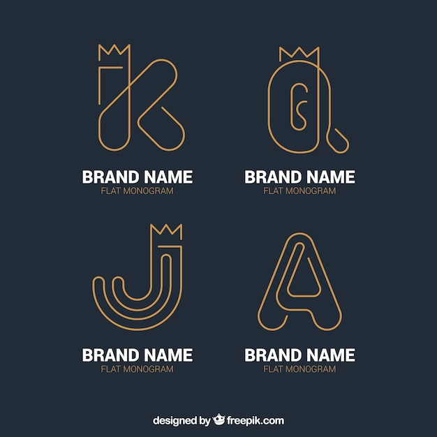 Pack of letter logos with gold lines Free Vector