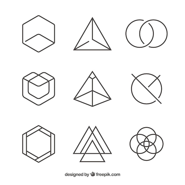 Pack of linear geometric logos Free Vector