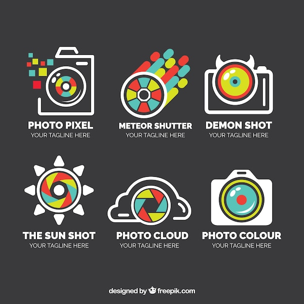 Pack of logos in linear style of photography with colorful details Free Vector