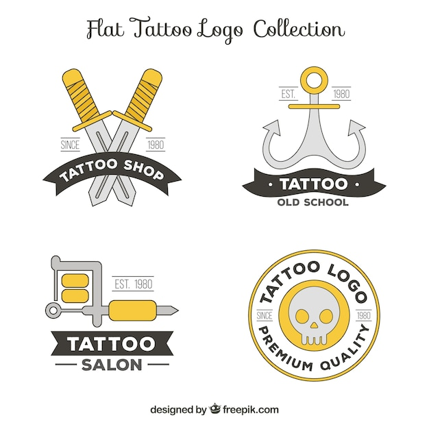 Pack of logos of tattoos in linear style Free Vector
