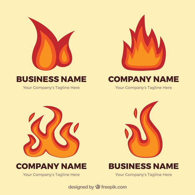 Pack of logos with fantastic flames Free Vector