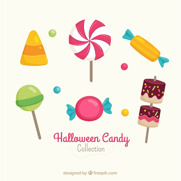 Pack of lollipops and halloween party candies Free Vector