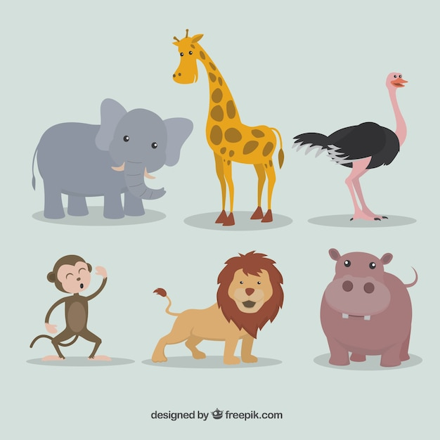 Pack of lovely wild animals Free Vector