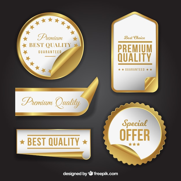 Pack of luxury products stickers Free Vector