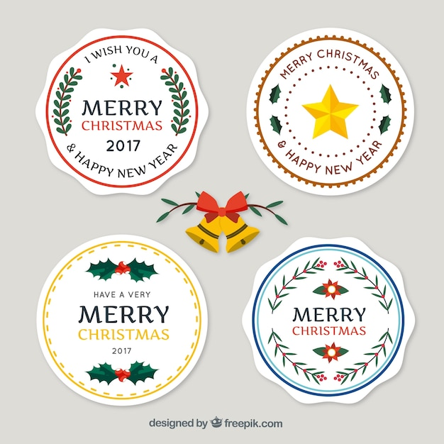 Pack of merry christmas and new year stickers Free Vector