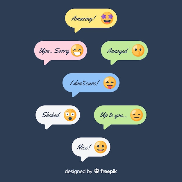 Pack of messages with emojis Free Vector