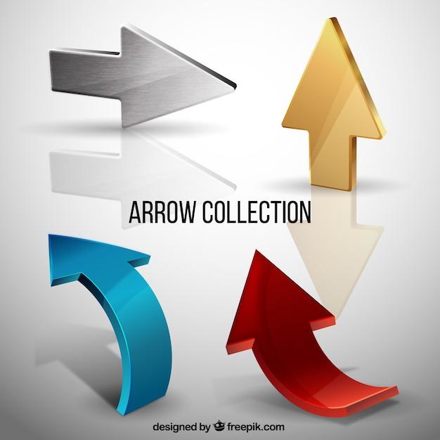 Pack of metal arrows Free Vector