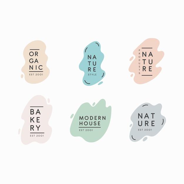 Pack of minimal pastel logos Free Vector