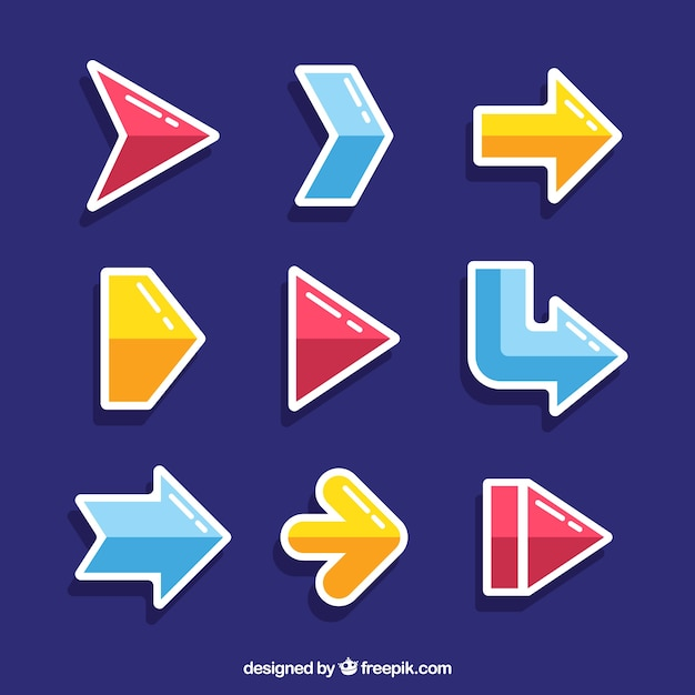 Pack of modern arrow stickers Free Vector