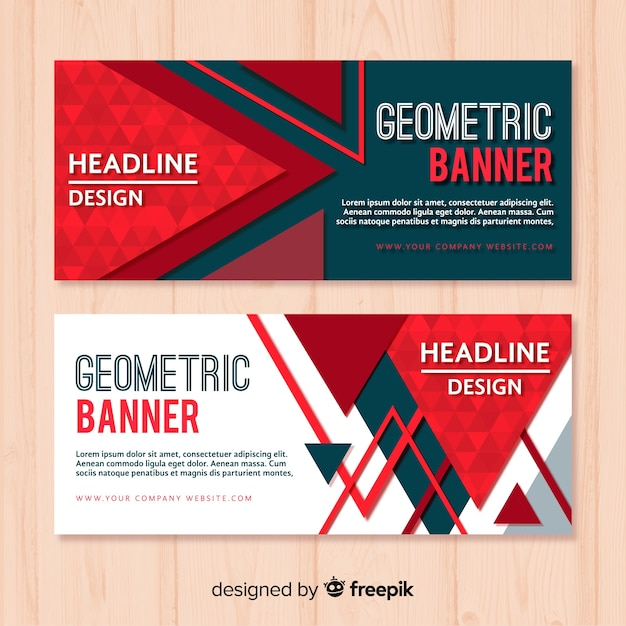 Pack of modern banners with geometric design Free Vector