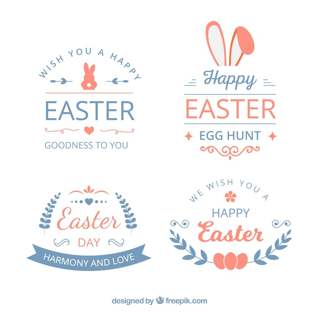 Pack of modern easter labels Free Vector