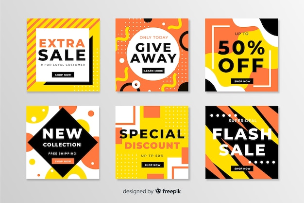 Pack of modern sales banners for social media Free Vector