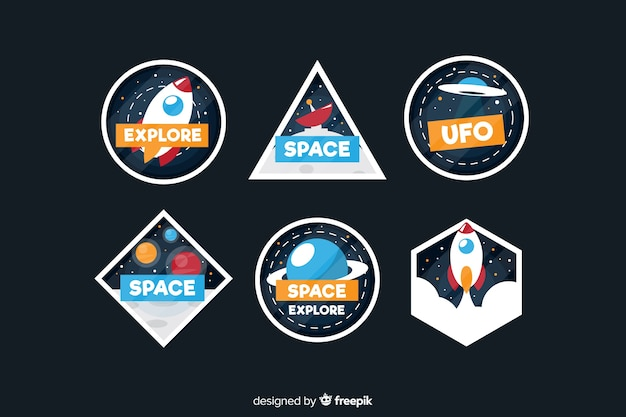Pack of modern space stickers Free Vector