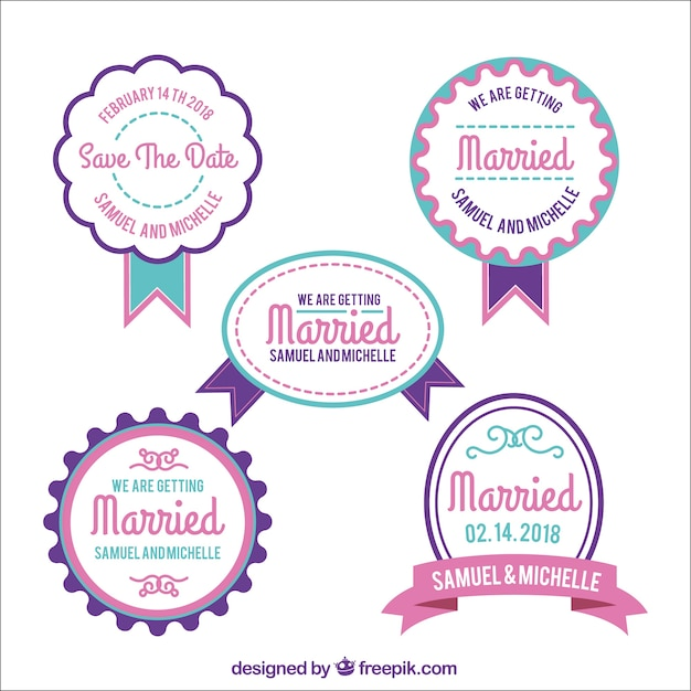Pack of modern wedding badges Free Vector
