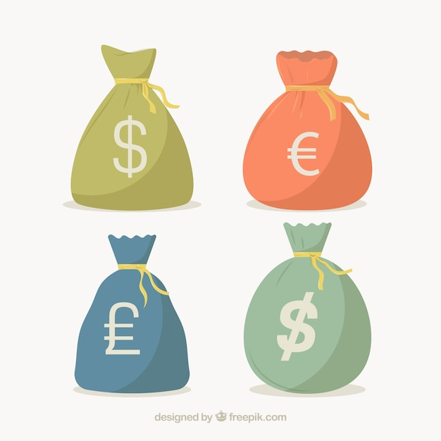 Pack of money bags with currency symbols Premium Vector