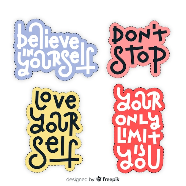 Pack of motivational lettering stickers Free Vector
