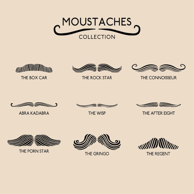 Pack of movember moustaches Free Vector