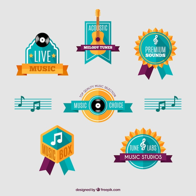 Pack of musical instrument badges in flat design Vector