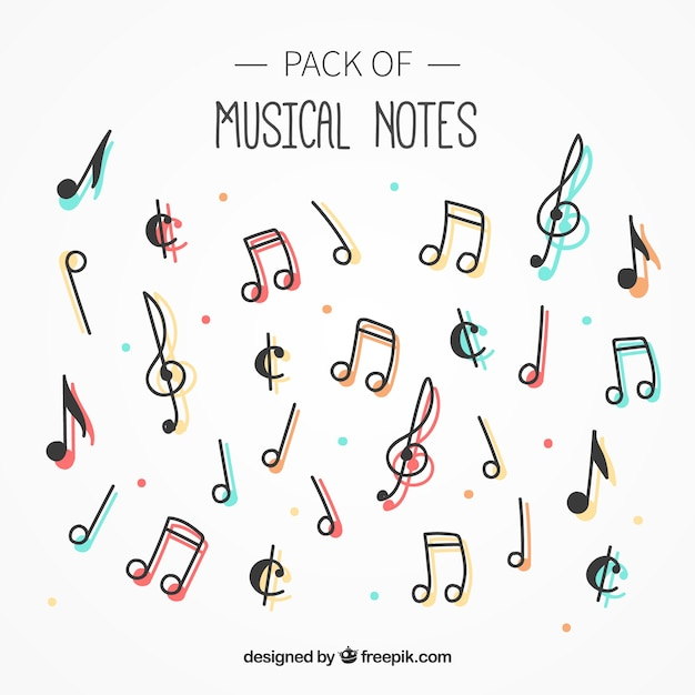 Pack of musical notes with color Free Vector