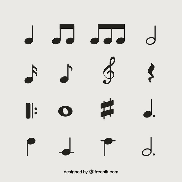 Pack of musical notes Free Vector