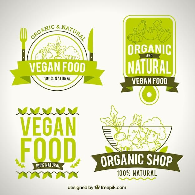 Pack of natural food logotypes Premium Vector