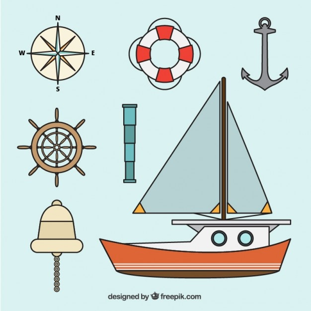 Pack of nautical elements Free Vector