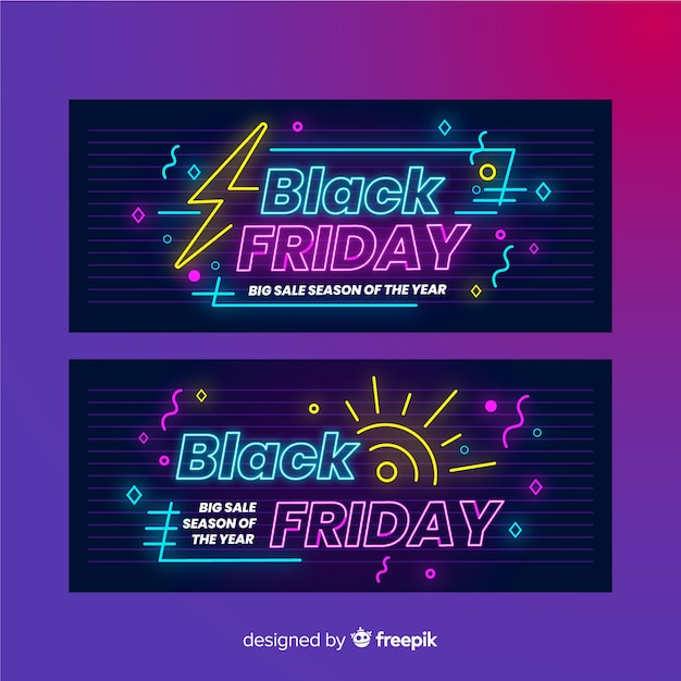 Pack of neon black friday banners Free Vector