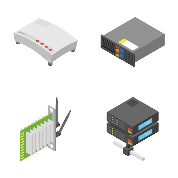 Pack of network and connection devices icons Premium Vector