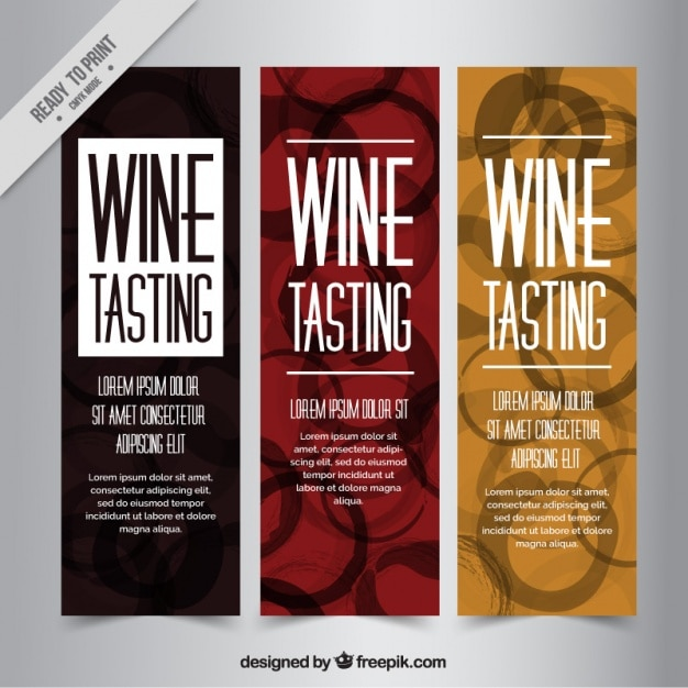Pack of nice banners with wine stains Free Vector