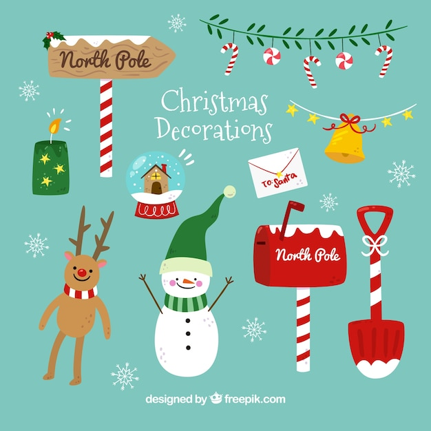 Pack of nice christmas elements Free Vector