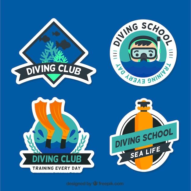Pack of nice diving labels Premium Vector
