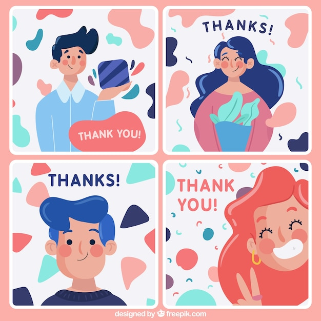Pack of nice thank you cards with characters Free Vector