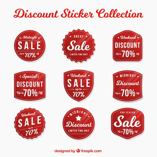 Pack of nine discount stickers Free Vector