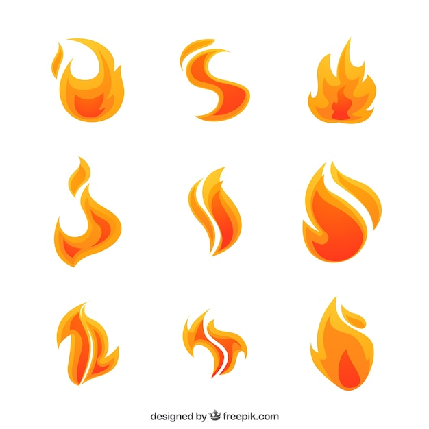 Pack of nine flames with abstract forms Free Vector