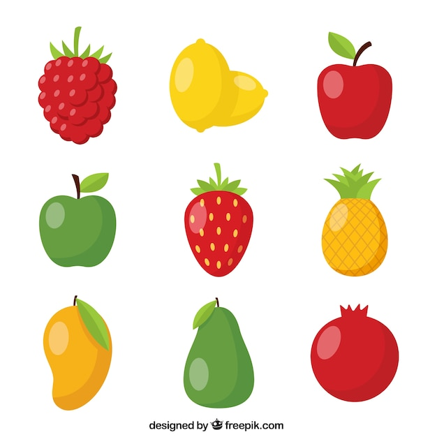 Pack of nine shiny fruits Free Vector