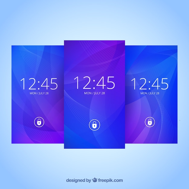 Pack of abstract blue wallpaper Free Vector