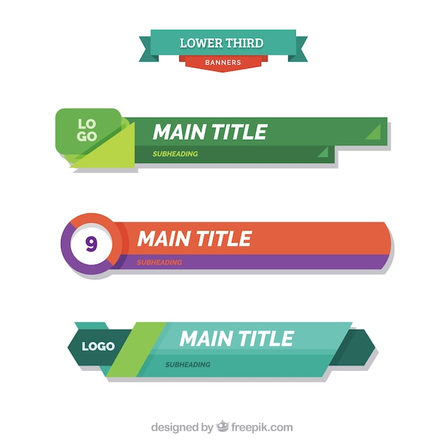 download vector pack of abstract lower thirds