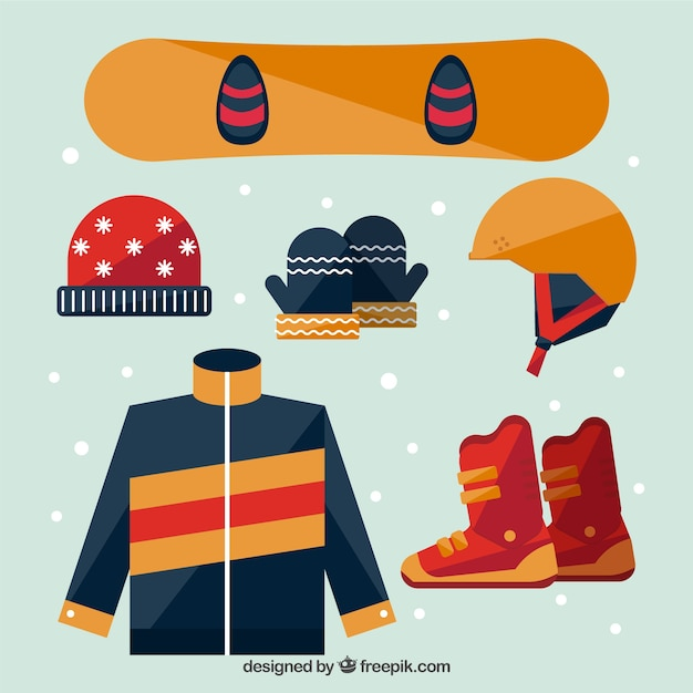 Pack of accessories for snowboard in flat\ design