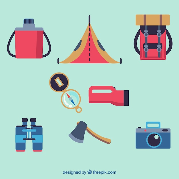 Pack of adventure equipment in flat\ design
