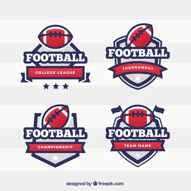 Flatliners Paramedic Rugby Football Club: Pack Of American Football Shield Badges Vector