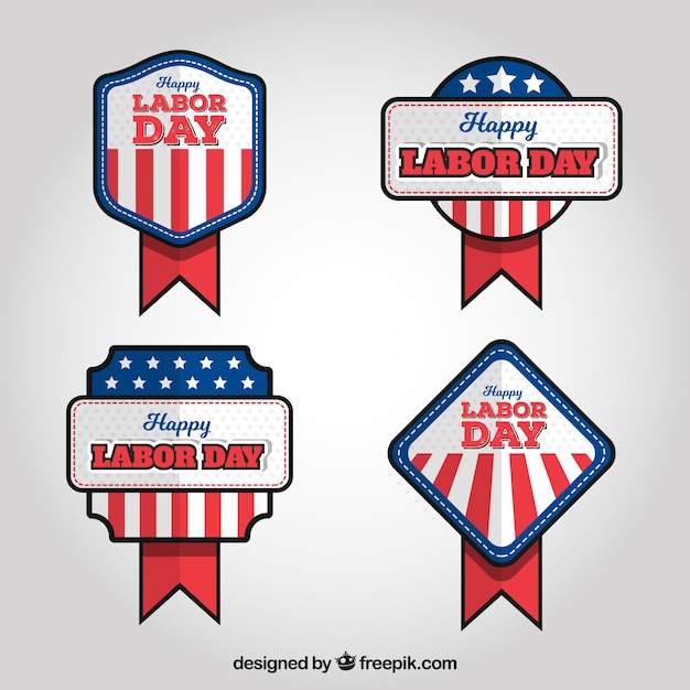 Pack of american labor day badges